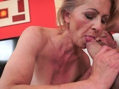 Hairy old granny gets a young cock inside her wet snatch