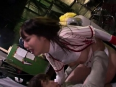 Beautiful Japanese babe gives one lucky guy a precious blowjobs