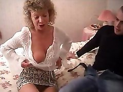 British granny goes entirely crazy and tries to get down and dirty with her grandsons mate