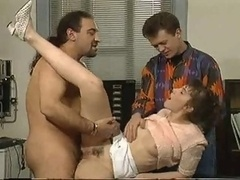 Father double banging his good-looking girlfriend with his fr...