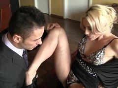Blonde Brittany Bardot fucks two men and makes them cum