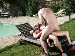German Mom Enjoys A Poolside Double ripping