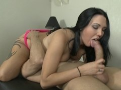 Two amazing ladies are with a dude in a threesome, sucking him off