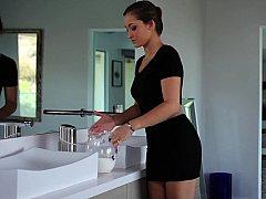 浴室, フェラチオ, 茶髪の, シャワー, ガリガリ, ストリップ, ティーン