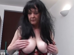 Raunchy granny in sexy underwear