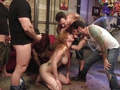 Redhead Floozy Lauren Phillips, GangBang Double-Anal Dominate