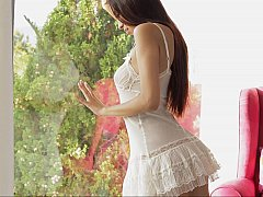 Gorgeous teen girl loves to spend time alone