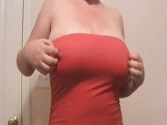 Lateshay 36 F bra buddies Red mini skirt strip tease Phallus pleaser