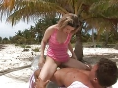 British hoe Crystal gets fucked up the arse in the sand