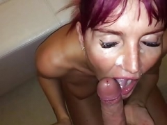 Facial cumshot and cumshot in the mouth with swallow