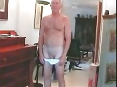 Sexy grandpa naked at home