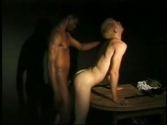 Blonde gay bitch sucks a black boner and gets fucked from behind