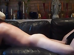 Leather couch hump and smoke
