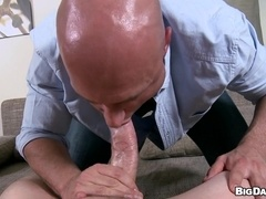 Bald gay daddy gives a blowjob and gets his butt bareback drilled