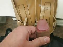 Cum on secretary's shoes