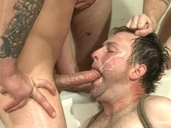 A poofter gets his butt destroyed in group BDSM scene