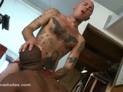 Tattooed gay smashes his black BF's ass after they have oral sex