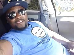 Cute Black Guy Self Facial Cumshot in Car