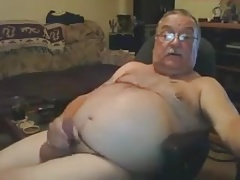 Older Bear Strokes and cum