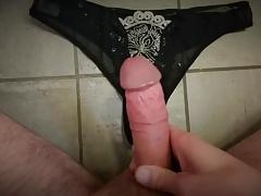 cum on black panties