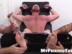 Hairy gay dude Red gets tied down and tickled on the chair