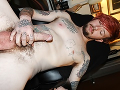 tatted Asian skater beats off