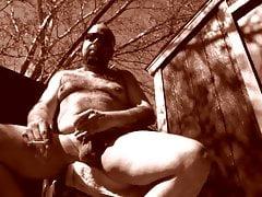 Smoking nude outside