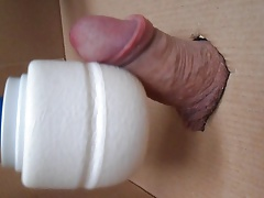 Cock in Box hands free jerking with vibrator