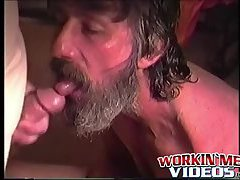 Rugged and scraggly guy named Glen masturbates his big cock