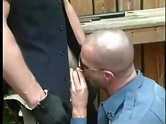 Aroused Cops Sucking Outdoor