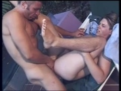 Two horny gays bang doggy style in a garden after mutual cock-sucking
