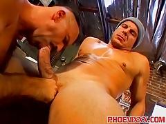 Horny buff gay daddies rough threesome fuck in the garage