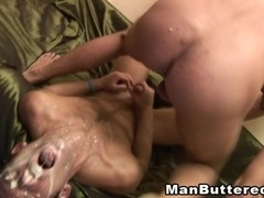 Two dudes have wild anal sex and cum on faces