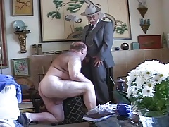 Gay old mature grandpa sucking the other grandpa's cock