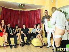 Bisex guy gets blowjob at orgy