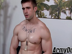 Fit and muscular soldier Mathias jerking his big fat dick