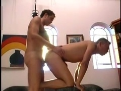 Slutty gay blows and lets his BF fuck his ass from behind