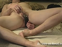 Pierced Twink Playing With a Dildo