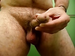 Curved thick small dick stroke low hanging balls play