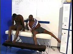 Black studs have sex in the locker room
