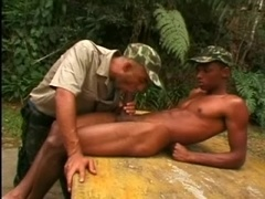 Black homosexual lets his buddy suck his dick and fucks his ivory ass