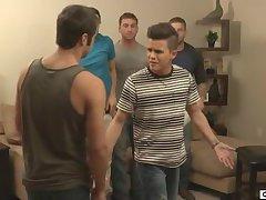 Twink sucks four cocks in crazy gay gang bang