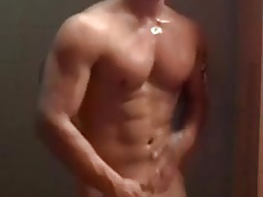 spy showers hunk muscle
