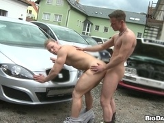 Blond gay hunk Blazk gets his butt stunningly pounded in the yard