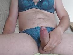 Wanking in undies again!