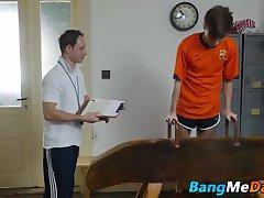 Yuri seducing his older gym teacher and swallowing his dick