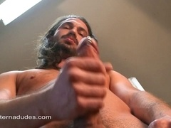 Handsome long-haired gay called Victor Rolf plays with his wang