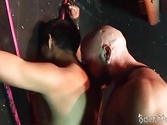 Bald studly master scores his boy sub at the cross