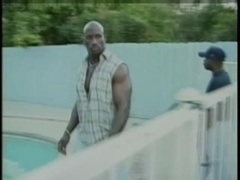 Three muscular black dudes make ardent gay love on the poolside