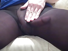 Girlfriend Watching My Dick Through Nylon Pantyhose.